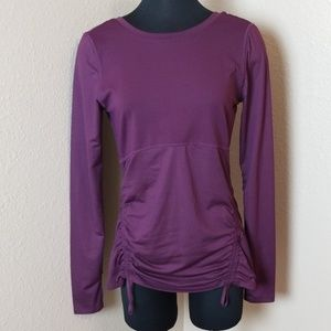 Fabletics Purple Ruched Long Sleeve Top